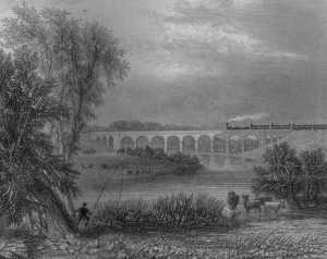 A railway viaduct over landscape